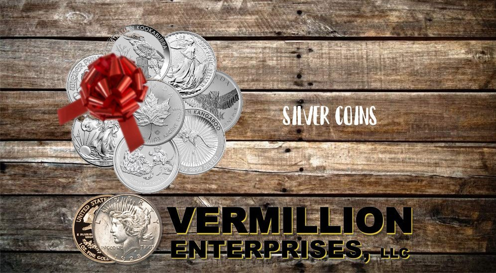 We are your .999 Silver Coins Buyer in Spring Hill, FL. We are Vermillion Enterprises. Specializing in Gold & Silver - Coins, Bullion, & More. Vermillion Enterprises - Holiday Gift Buying Guide! Buy Silver & Gold - Bullion & Coins this Holiday Season - Skip the gift cards and socks. Give them something they can invest in - silver and gold - coins, bullion - bars and rounds. graded coins, american silver eagles, american gold eagles, monster boxes, 90% silver, 40% silver - Serving Spring Hill, Brooksville, Crystal River, Dade City, Floral City, Inverness, Holiday, Homosassa, Hudson, Jacksonville, Land O Lakes, Lecanto, Lutz, Miami, Daytona Beach, Orlando, Kissimmee, Palm Harbor, Tarpon Springs, Tampa, Lakeland, New Port Richey, Port Richey, Odessa, Wesley Chapel, Zephyrhills - throughout Florida!!! Call today or visit us online! 352-585-9772; www.vermillion-enterprises.com/shop